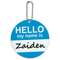Zaiden Hello My Name Is Round ID Card Luggage Tag