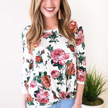 Caught Up Floral Knot Front Top