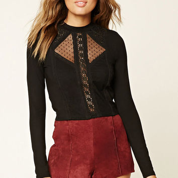 Sheer Lace-Paneled Top