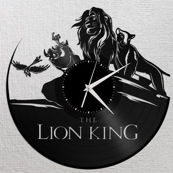 Lion King Wall Clock, Vinyl Wall Clock, Record Clock, Disney Clock, Unique Wall Clock, Large Wall Clock, Modern Wall Clock