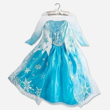Cool Girls Snow Queen Princess Elsa Anna Party Dresses Children Kids Cartoon Cosplay Dress Clothes Baby Vestidos Costume ClothingAT_93_12