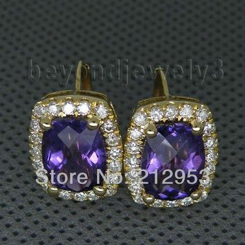 14KT Yellow Gold 7x10mm Amethyst Earrings