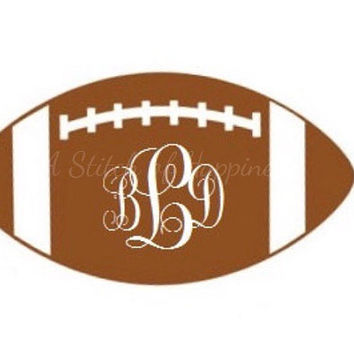 Monogram Football Decal - Football Car Sticker