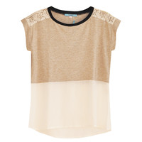Tsunoda Silk & Lace Detail Top in Nude