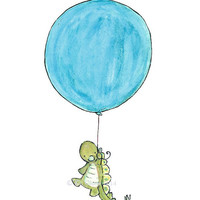 Children's Art -- STEGOSAUR BALLOON -- Art Print