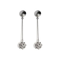 nOir Jewelry - Long Mace Ball Earrings, Silver