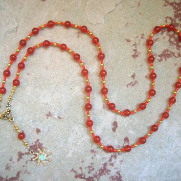 Ra (Re) Prayer Bead Necklace in Red Carnelian: Egyptian God of the Sun