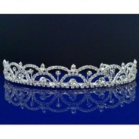 Rhinestone Bridal Wedding Prom Tiara Crown With Crystal Arches 5511 (Silver)