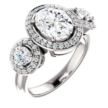 2.0 Ct Oval Three-stone Diamond Engagement Ring 14k White Gold