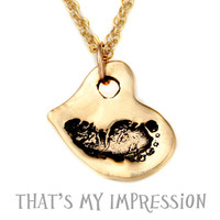 14KT Gold Baby Footprint Heart Pendant, Engraved Memory Loss Necklace, Newborn Baby Gift Ideas