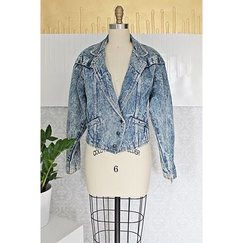 Vintage Acid Wash  Lace Up Denim Jacket