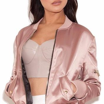 Women's Satin Baby Pink Bomber Jacket