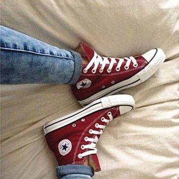 DCCKHD9 Converse All Star Sneakers canvas shoes for women sports shoes high-top wine red