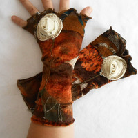 Brown gloves, brown fingerless gloves, in earth colors, brown velvet gloves, mittens gifts, floral gloves, Christmas gift