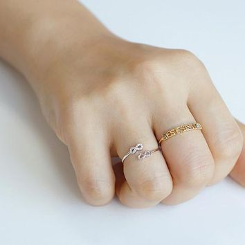 Best Sisters Twin Infinity Ring / sisters forever ring, family jewelry, siblings ring, adjustable ring / R087