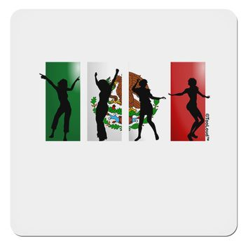 "Mexican Flag - Dancing Silhouettes 4x4"" Square Sticker by TooLoud"