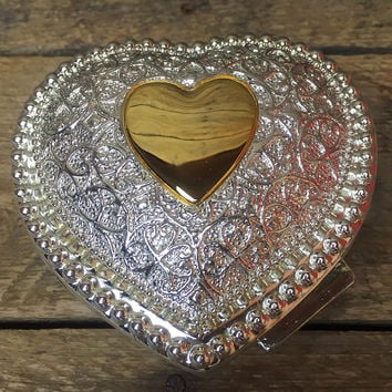 FTD Silver Plate Brass Heart Shaped Trinket Jewelry Box