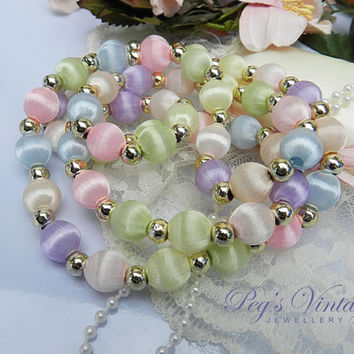 Vintage Multi Pastel Colors//Satin Bead Necklace//Silk Thread Beaded Necklace 1960s Jewelry