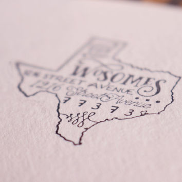 Custom State Return Address Stamp - State Stamp - Personalized Gift - All States Available