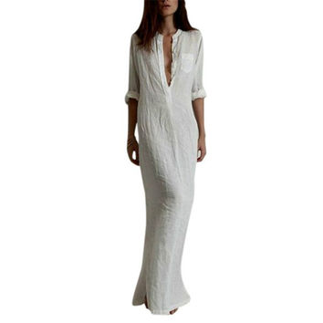 Linen Cotton Casual Long Split Maxi Wrap Shirt Dress Ladies Vestidos Best