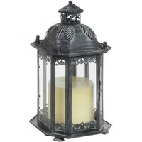 Antique Verdi Metal Candle Lantern