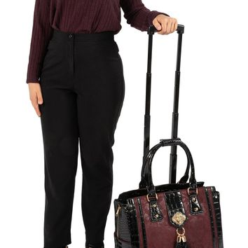 """THE BELLA BORDEAUX"" Rolling Laptop Carryall Trolley Bag (fits up to a 17"" laptop)"