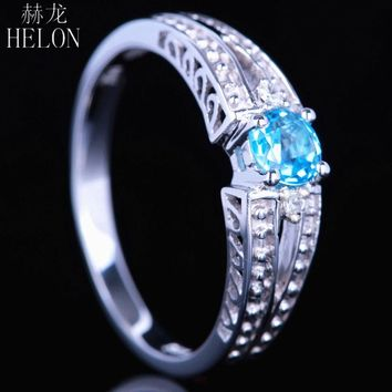 HELON Solid 14K White Gold 4.5mm Round 100% Genuine Blue Topaz Real Diamonds Engagement Wedding Gift Ladies Vintage Antique Ring