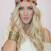 Flower Crown, Wedding Headband, Music Festival Bohemian Hair Band in Red Bride's Hair for Wedding Headband Stretchy Crown (HB-16)
