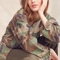 Urban Renewal Recycled Collarless Camo Surplus Jacket | Urban Outfitters
