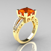 French Vintage 14K Yellow Gold 3.8 Carat Princess Orange Sapphire Diamond Solitaire Ring R222-YGDOS