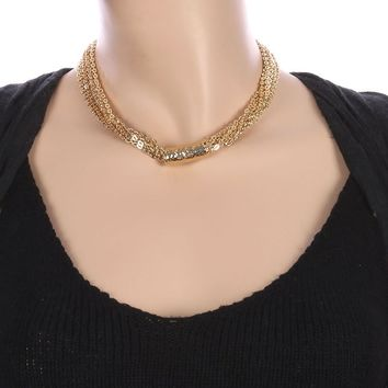 Gold Hammered Metal Barrel Multi Chain Necklace