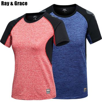 RAY GRACE Quick Dry Patchawork Breathable For Men Women Summer Cooling Sportswear T Shirt Outdoor Tees Hiking Trekking Clothes