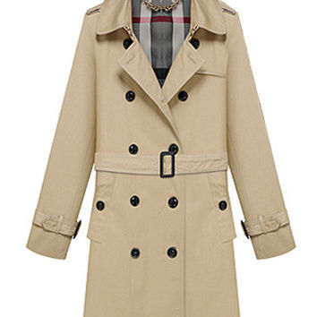 Khaki Notched Collar Double-Breasted Belted Trench Coat