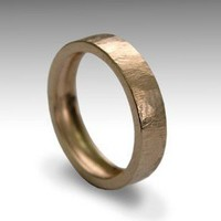 Wedding band 14K rose gold UNISEX textured band by artisanlook