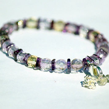Round Faceted Ametrine with Amethyst Bracelet