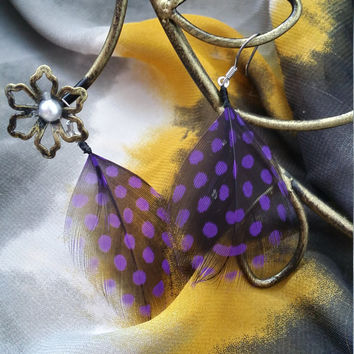 Purple and Black Polka Dot Feather Earrings