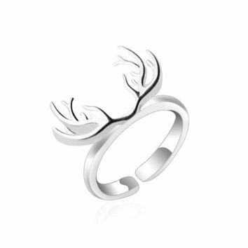 Original Sterling Silver Deer Antlers Open Ring For Women Girls Gifts Sterling jewelry