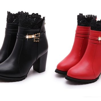 Womens Lace Ankle Strap Bootie Heels