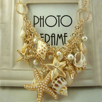Design Big Bib Statement Chokers Seashells Starfish simulated pearl Necklaces For Women