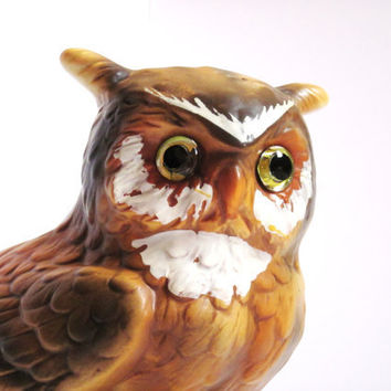 Glass Eyed Owl Planter Vintage Lefton by jarmfarm on Etsy