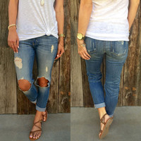 Ripped Cut-Out Knee Denim Pants