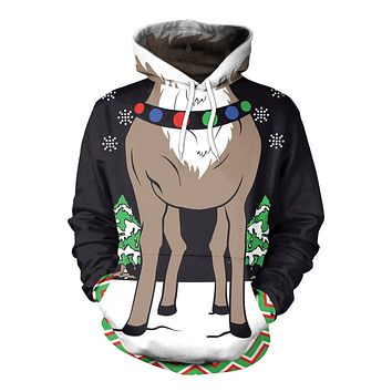 Colorful 3D Reindeer Digital Print Women Christmas Party Hoodie