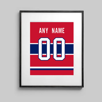 Montreal Canadiens Poster - Red Jersey Print Custom Made - Select ANY Name & ANY Number - 5x7 - 8x10 - 16x20