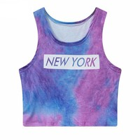 Sexy Sleeveless Letter Print Neon Casual Fitness Crop Tops