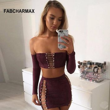 off the shoulder hollow out long sleeve chain suede mini short dress