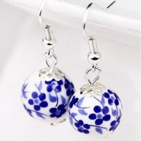Free Gift – Blue Flower Ceramic Earrings