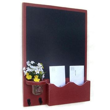 Chalkboard Mail Organizer - Letter Holder - Mail Holder - Key Hooks