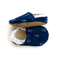 nautical baby sailor baby toddler shoes navy blue and white anchor shoes soft sole shoes crib shoes baby shoes toddler shoes anchor baby