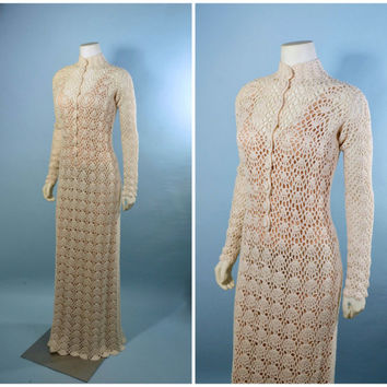 Vintage 60s 70s Ivory Cream Crochet Wedding Dress Gown w/ Mandarin Collar & Long Sleeves - Victorian Antique Knit Bohemian Boho Style, sz S