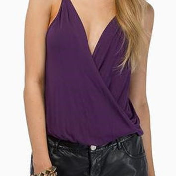 Violet Sleeveless Chiffon Tank Top
